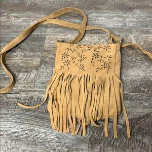 The Limited Tan Boho Small Crossbody Fringe Bag